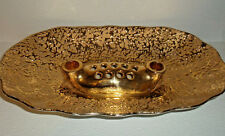 """Weeping Bright Gold Center Piece Candle Holder Flower Frog Vase Mid Century 14"""""""