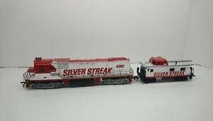 Tyco HO Train Silver Streak/UP Alco C430 Powered Diesel Locomotive & Caboose