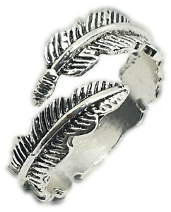 Angel Wing Feather Ring Unisex 925 Sterling Silver Adjustable Size Plume Ring