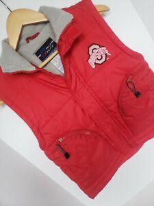 Pro Stuff Collegiate Red Puffer Vest Ohio State Zip Up Hook Eye Zip Pocket S (8)