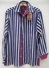 Edwards Heavies ED38 Long Sleeve Cotton Stripe Twill Shirt - Washed Navy - L/XL