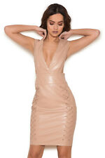 HOUSE OF CB 'Valencia' Nude Vegan Leather Deep V Dress XS 6 / 8 SS 19397