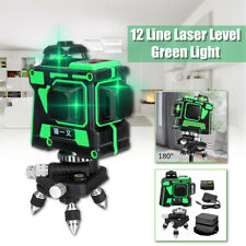 3D 12 Lines Green Laser Level 360° Self Leveling Li-ion Cross Measure Tool Kit