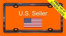 Bling Crystal RhineStone American Flag Patriotic Black Metal License Plate Frame