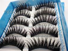 5 Pairs Natural Long Black Eye Lashes Makeup Handmade Thick Fake False Eyelashes