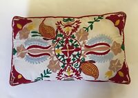 "World Market Embroidered Crewel Decorative Christmas Colors Pillow 12"" x 20"""