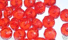 100pcs transparent red flat round acrylic beads 6mm