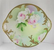 OEG Royal Austria Signed Hand Painted Jann Pink Rose Double Handled Plate Gilt