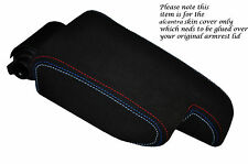 M STITCH FITS BMW 3 SERIES E36 1992-1999 ARMREST BLACK PU SUEDE COVER ONLY