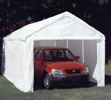 10 X 10 HD 5PC Valance Canopy Enclosure Tarp Carport Cover and Frame- White