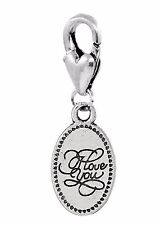 I Love You Cursive Words Oval Message Clip Dangle Charm for Traditional Bracelet