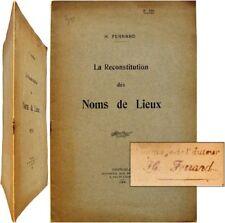 La Reconstitution des noms de lieux 1908 Henri Ferrand Grenoble toponymie alpine