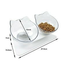 Double Cat Bowl With Raised Stand Pet Food Bowl Perfect for Cats and Small Dogs