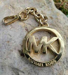 MICHAEL KORS Logo Medallion Key Chain, Key Ring Gold-tone preowned
