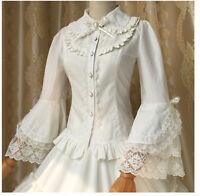 Vintage Victorian Lolita Gothic Princess Retro Lace Flare Sleeve Shirt Blouse A