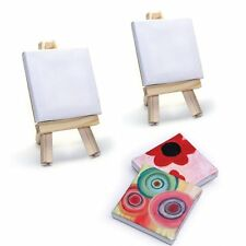 2 mini toiles à peindre 7x7cm avec chevalet - peinture, dessin, art de la table