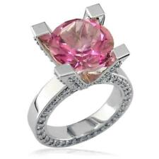 Right Hand Ring, 1.75Ct Diamonds in 18k Large Round Blush Pink Topaz and Diamond