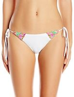 New Anthropologie Mara Hoffman White Floral Embroidered Tie-Side Bikini Bottom