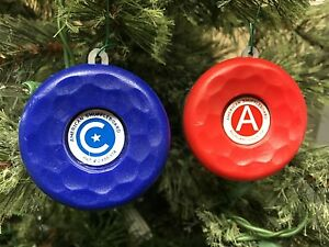 AMERICAN SHUFFLEBOARD HOLIDAY TABLE PUCK WEIGHTS ORNAMENTS - SET OF TWO RED&BLUE