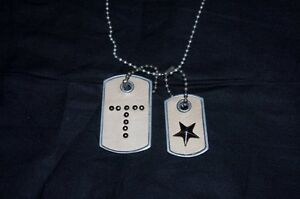 """KH Studio Metal & Leather Dog Tag Necklace Initial """"T"""" & Star Tan Silver LDTNK1T"""