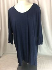 Poetry Flowy Navy Blue Linen Knit Tunic Top With Single Pleat Fold Size 16