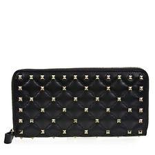 Valentino Rockstud Spike Leather Wallet - Black