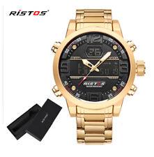 Ristos reloj maxi de cuarzo en acero dorado multifunción alarma doble hora y WR