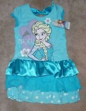 NEW DISNEY Frozen Magical Elsa Eyelet Satin Dress Little Girls 6X Blue NWT