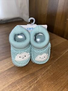 NEW Carter's little baby basics Crochet Booties Cloud  Blue + White NB New Born
