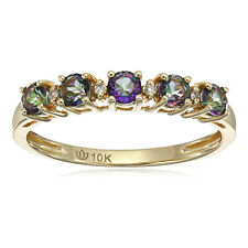 Pinctore 10kt Yellow Gold Mystic Topaz Diamond Stackable Ring