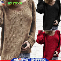 US Women's Casual Pullover Jumper Sweater V Neck Long Sleeve Knitted Tops Blouse