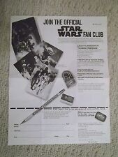 "Vintage Authentic 1980 ""OFFICIAL STAR WARS FAN CLUB"" Membership Application Form"