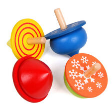 4pcs Wooden Spinning Tops Colorful Funny Gyro Toy Spinning Top for Children Kids