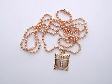 Rose Gold Christian Bible Book Crystal Cross Dog Tag Necklace Jesus God