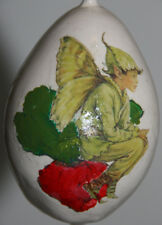 gourd garden marker or Christmas ornament with fairy / sprite and raddish