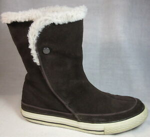 CONVERSE Beverly 8 Suede Leather Short BOOTS Faux Fur EU 39 Convertible Velcr0