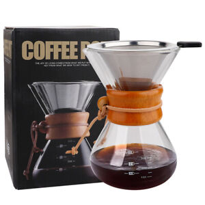 400ml Classic Glass Hand Drip Coffee Maker Pot Chemex Style Pour Over Filter