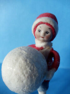 Antique German Spun Cotton and Bisque Christmas Ornament Boy Child with Snowball