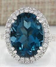 10.37 Ct Natural LONDON BLUE TOPAZ 0.8 Ct of Diamonds 18K WG Ring Sz 6.75