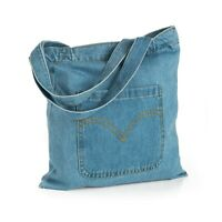 WOW £6.50  DENIM SHOULDER BAG STUDENTS TOTE POUCH BEACH SCHOOL COLLEGE