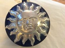 Blue and silver glitter Shining Sun  Glass Ornament Old German Christmas