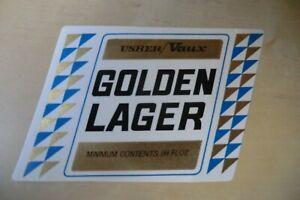 MINT USHER VAUX GOLDEN LAGER BREWERY BEER BOTTLE LABEL