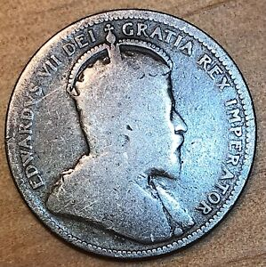 Canada 1907 Silver 25 Cent Edward VII Coin