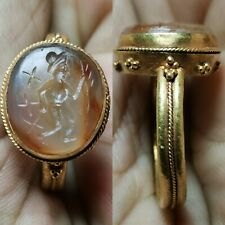 roman old Agate emperor intaglio stone high carat Gold Ring 6.15 grams     # 14