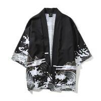 Men Cardigan Japanese 3/4 Sleeve Printing Summer Casual Kimono Jacket Shirts New