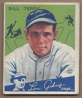1934 Goudey baseball card #21 Bill Terry, New York Giants, VGEX+ corner ding