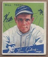 1934 Goudey baseball card #21 Bill Terry, New York Giants, VGEX+ corner ding