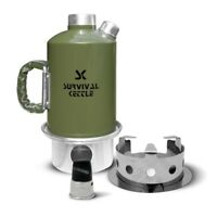 Survival Kettle Set Camping Kettle and Camp Stove Green 1.2 L