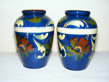 Watcombe Torquay  Devon  Decorated  High  Gloss  Pair  Blue  Vases  Height 5""