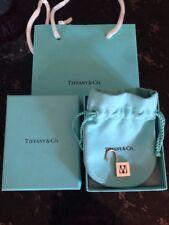 Tiffany & Co Sterling Silver W Initial Letter Lock Charm 4 Bracelet Pendant Euc